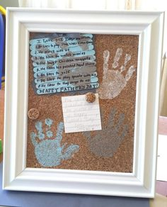 Father's day idea.  Diy corkboard with handprints in am 8x10 frame for daddy's office. Can personalize