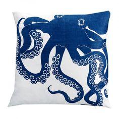 Indigo Octopus Pillow