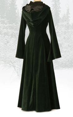 Long green velvet coat with hood – The Dark Angel http://www.thedarkangel.co.uk/collections/coats-cloaks-jackets/products/442-beltane-coat