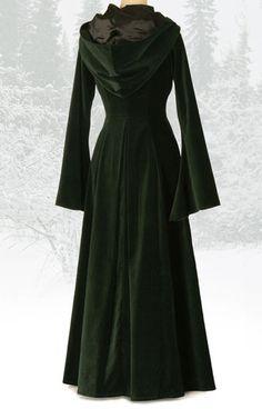 Long green velvet coat with hood – The Dark Angel http://www.thedarkangel.co.uk/collections/coats-cloaks-jackets/products/442-beltane-coat