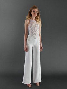 Wedding Jumpsuit with Beaded Embroidery | Randi Rahm Fall 2017 |  http://trib.al/bxAPjaS