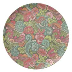 Paisley Cyngalese Melamine Plate See more products available for purchase at http://www.zazzle.com/prismaticfanatic