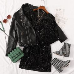 To find out about the Solid Sequin Bodycon Dress at SHEIN, part of our latest Dresses ready to shop online today! Girls Fashion Clothes, Teen Fashion Outfits, Cute Fashion, Girl Outfits, Fashion Dresses, Cute Casual Outfits, Pretty Outfits, Stylish Outfits, Tee Dress