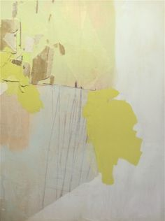 """Jessica Bell,  Development and Trees in Bloom, 2009   36"""" x 48""""  Acrylic, fabric remnant, fiberglass and paper collage on wood panel"""