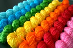 Yarn rainbow - what a colourful sweater they will make!