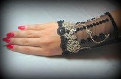 OOAK Hand Beaded Lace Cuff in Pale Gold & Black by YovankaBlack