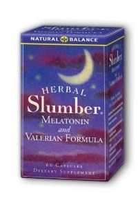 Natural Balance Herbal Slumber, 60-Count by Natural Balance. $8.80. Melatonin is intended to provide nutritive support for normal, healthy relaxation. Valerian is a natural herb known to help relieve tension. Chamomile and Hops are popular herbs used in relaxation preparations. Take before bedtime. The herbal slumber® formula combines a select blend of soothing herbs with melatonin. these ingredients are known to help you relax, so you can better renew your ene...