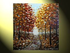 """Original XL Palette Knife Painting Autumn Trees Landscape Blue Brown Gold Red Grey Fall Trees Impasto 36x36"""" -Christine. $525.00, via Etsy."""