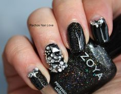 Racho's Nail Love: Nail Art Challengez - Black and White Day 4 - Glam Cute