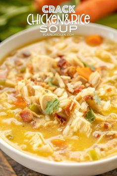 Crack Chicken and Rice Soup - this soup should come with a warning label! SO GOOD!!! Ready in 30 minutes! Chicken, cheese soup, chicken broth, celery, carrots, ranch mix, bacon, cheddar cheese and rice. Everyone went back for seconds - even our super picky eaters! A great kid-friendly dinner!! We love this soup! #soup #bacon #chickenandricesoup #crackchicken