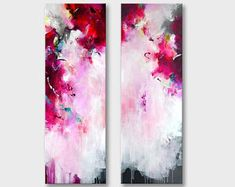 Pair of original XXL abstract painting, original abstract art, 2 parts long acrylic artwork, large painting, fuchsia pink magenta white art Abstract Expressionism, Abstract Art, Modern Art, Contemporary Art, Different Kinds Of Art, Acrylic Artwork, Original Paintings, Art Paintings, Oeuvre D'art