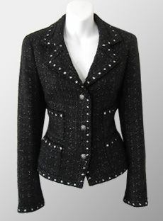 Chanel style jacket in classic black with titanium button details Fashion Now, Over 50 Womens Fashion, Dope Fashion, Fashion Dresses, Chanel Jacket Trims, Chanel Style Jacket, Tailored Jacket, Tweed Jacket, Channel Jacket