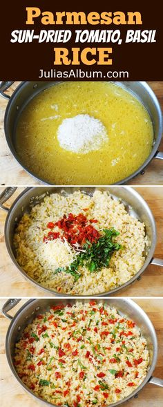 Parmesan, Sun-Dried Tomato, Basil Rice - easy gluten free side dish recipe (Try Food Healthy Recipes) Gluten Free Recipes Side Dishes, Easy Rice Recipes, Side Dish Recipes, New Recipes, Vegetarian Recipes, Dinner Recipes, Cooking Recipes, Healthy Recipes, Cheese Recipes
