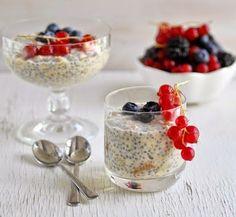 Semillas de chia con avena y leche para desayuno o postre -Dejar reposando toda la noche y disfrutar al siguiente día.