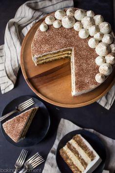 Tiramisu Cake: just like the classic Italian dessert, in layer cake form! So mu… Tiramisu Cake: just like the classic Italian dessert, in layer cake form! So much rich coffee flavor, and I loved. Italian Desserts, Just Desserts, Delicious Desserts, Italian Tiramisu, Italian Cake, Baking Recipes, Cake Recipes, Dessert Recipes, Picnic Recipes