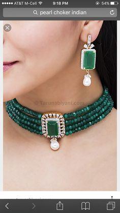 Jade and diamond Emerald Jewelry, Pearl Jewelry, Wedding Jewelry, Antique Jewelry, Gold Jewelry, Pearl Choker, Gold Jewellery Design, Bead Jewellery, Beaded Jewelry