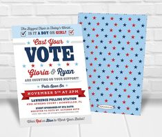 Cast Your Vote Gender Reveal Party Invitation Gender Reveal Party Invitations, Party Invitations Kids, Personalized Invitations, Printable Invitations, Baby Shower Invitations, Quick Print, Cast Your Vote, Polling Stations, Reveal Parties