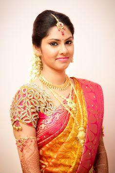 Yellow saree with elegant cut work pink blouse Wedding Saree Blouse Designs, Saree Wedding, Wedding Bride, India Wedding, South Indian Bride, Kerala Bride, Hindu Bride, Saris, Silk Sarees