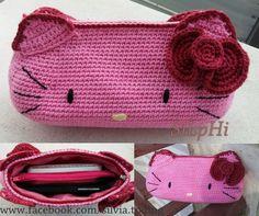 Crochet Hello Kitty Pouch #crochet #rajut #hello kitty #pouch