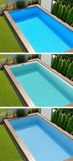 Ihre Wahl: Neben klassischen, blauen Innenauskleidungen für Swimmingpools finden Sie bei POOLSANA auch Pools mit sandfarbenen Folien für eine türkise Wasserfarbe wie im Urlaub sowie graue Folien für einen modernen, edlen Look. #pool #auskleidung #türkis #grau #swimmingpool #garten