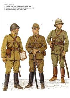 China, 1937-39 1: Capitan, 104° Regimiento de Artilleria de Campaña; Canton, 1938 2: Teniente, 117° Regimiento de Infanteria, 108° Division de Infanteria, verano de 1938 3: Mayor, 82° Regimiento de Infanteria, 21° Division de Infanteria, 1939