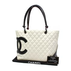 CHANEL Large Tote Cambon Shoulder bags White Leather A25169