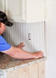 Learn how to install beadboard with these DIY projects! Whether you want a beadboard wainscoting in the dining room, or an amazing DIY kitchen backsplash, some farmhouse modern elements or some classical elegance, this is the stuff. Kitchen Redo, Kitchen Design, Kitchen Cabinets, Kitchen Ideas, White Cabinets, Kitchen Facelift, Basement Kitchen, Diy Cabinets, Kitchen Shelves