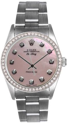 Rolex Airking Pink MOP Diamond Face / Diamond Bezel