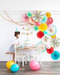 """Deliver birthday sentiments in a bright and playful way with this two piece happy birthday banner. Whether you use it to decorate the cake table of the birthday bash, or the door of your loved one on their birthday. This colorful banner is sure to make the day just a little more sunny. • """"HAPPY"""" banner is approximately 1' long • """"BIRTHDAY"""" banner is approximately 1.5' long • Letter pieces are approximately 2.25"""" x 3.5"""" • Pre-stitched • Gold Foil Happy Birthday For Her, Happy Birthday Funny, Happy Birthday Quotes, Happy Birthday Greetings, Happy Birthday Banners, Girl Birthday, Funny Happy, Cake Birthday, Birthday Ideas"""