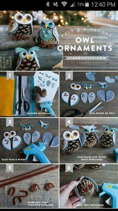 DIY Owl Ornaments christmas pinecones christmas crafts christmas decorations christmas crafts for kids christmas tree ornaments chistmas diy Christmas Projects, Holiday Crafts, Holiday Fun, Christmas Crafts, Christmas Decorations, Christmas Ornaments, Pinecone Ornaments, Homemade Ornaments, Diy Owl Decorations