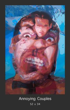 """""""Annoying Couples"""" the stunning and fun painting by San Francisco artist Donald Rizzo.  This acrylic on Canvas work is 52x34 in size and available for purchase at www.Donald-Rizzo.com. Do you know any annoying couples?:-)"""