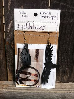 Bicycle inner tube Raven Earrings by RuthAndRuthless on Etsy