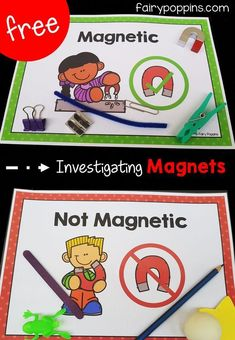 Magnet Activities Free magnet activities for kids. Includes sorting mats and worksheets that help kids investigate materials that are magnetic or not magnetic. Great for science centers, kindergarten and first grade. Preschool Science Activities, Kindergarten Centers, Elementary Science, Science Experiments Kids, Science Classroom, Science Lessons, Science For Kids, Activities For Kids, Science For Kindergarten