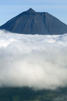 """Clouds around Pico, the highest mountain of Portugal.""  Pico, Azores, Portugal"
