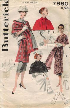 1950 s Butterick 7880 Vintage couture patron Misses Cape courte, Capelet, étole…