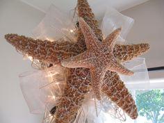 Lighted Christmas Tree Star Beach Starfish Handmade