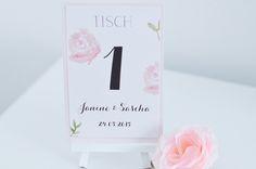 "Table number ""Roses / Tischnummern ""Roses"" von little-pink-butterfly auf DaWanda.com"