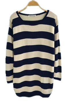 Navy White Striped Long Sleeve Pullovers Sweater