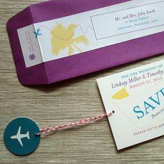 Destination Wedding Save the Date Airplane Message by rbgcolor, $25.00 #savethedates #destinationwedding