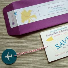 Destination Wedding Save the Date Airplane Message by rbgcolor, $25.00