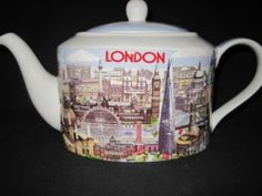 Minstrel shaped fine china teapot from James Sadler. All the highlights of  a tour of London are depicted on this teapot. If you forgot to get your souvenirs while you were visiting or just love the great city of London, this teapot is for you. Ready for gifting in a Gift Box.  36 oz. capacity. 6