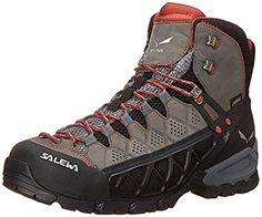 Salewa Womens Alp Flow Mid GTX Boots Charcoal Indio 10 Etip Lite Gripper  Glove Bundle  gt 0b09a408557