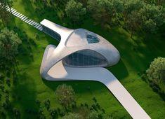 Eduard Galkin Conceptual Architecture, Architecture Concept Drawings, Concrete Architecture, Museum Architecture, Organic Architecture, Futuristic Architecture, Architecture Design, Architecture Diagrams, Architecture Portfolio