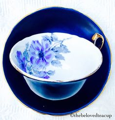 Royal Stafford Black and Blue Floral 1940's by TheBelovedTeacup