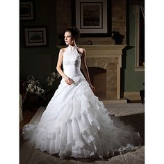 Ball Gown High Neck Chapel Train Organza Tiered Wedding Gown – USD $ 247.49