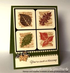 Autumn Wishes Stamped Leaves Card - stampTV Fall Cards, Holiday Cards, Christmas Cards, Christmas Ideas, Card Making Inspiration, Making Ideas, Fall Paper Crafts, Paper Crafting, Leaf Cards