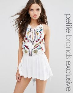 Glamorous+Petite+Embroidered+Sleeveless+Top+With+Tassel+Detail