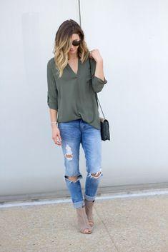 olive blouse + distressed/ripped jeans + taupe peep-toe booties https://tvcmatrix.com/ShanekaJones