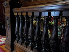 Beautifully carved wooden balusters at the American Swedish Institute
