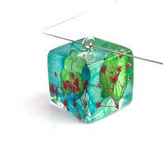 Vibrant Botanical Resin Necklace.  Pressed by SpottedDogAsheville, $37.00